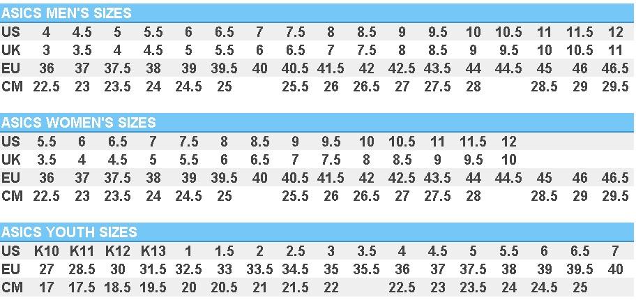 Asics Size Chart Car Interior Design
